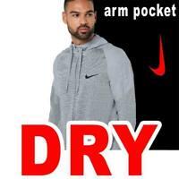 MEN'S NIKE DRY FULL ZIP HOODIE ARM POCKET SWEATSHIRT DRI-FIT  BV2676-073 MEDIUM