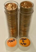 1960 P & 1960 D LARGE DATE LINCOLN MEMORIAL CENT BU Uncirculated 2 Rolls