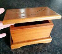 Small Wood Recipe Box or Trinket Stash Box ~ 7.5 x 4.5 x 5 ~ Handmade