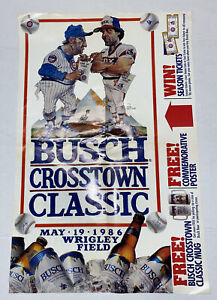 Vintage 1986 Poster Chicago Cubs White Sox Busch Crosstown Classic LaRussa 28x18