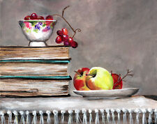 Old Books and fruit & bowls   8 x 10 reproduction  of original acrylic painting