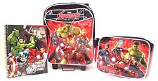 Marvel Avengers Age Of Ultron Boy's Trolley Backpack W/Lunchbag & Notebook NWT