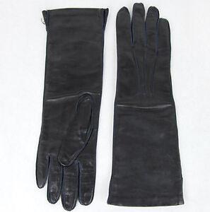 $420 NEW Authentic Bottega Venega Womens Long Leather Gloves Navy 304902 4014