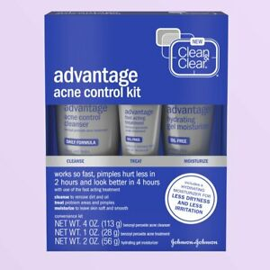 Clean & Clear Advantage Acne Control Kit with Benzoyl Peroxide, 3-Piece (08/22)