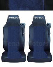 2 x VOLVO FH12 FH16 FL FM Seat Covers Tailored Logo Truck Black / Blue DE LUX