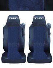 2x VOLVO FH12 FH16 FL FM Coprisedili Fatti su misura Logo Camion Nero/Blu DE LUX