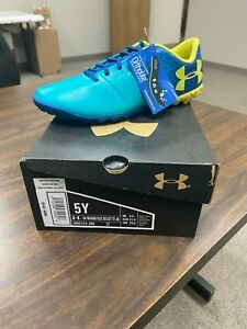 UNDER ARMOUR SOCCER CLEATS MAGNETICO 3000122-300 FG TEAL/BLUE SIZE 5YShoes