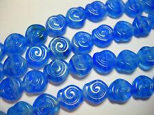 24 - 8mm Blue blend Snail Shell Swirl Spiral Coin Czech Glass Beads