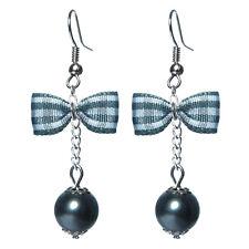Boucles D'oreilles femme rétro pin up noeud papillon carreaux vichy perle grise