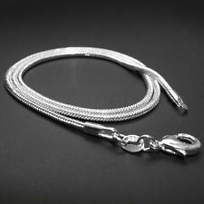 "1mm 2mm 925 Sterling Silver Plated Snake Chain Necklace 16"" 18"" 20"" 22"" 24"""