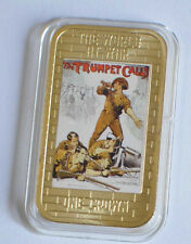2014 Tristan da Cunha Large Gold plated Color 1 Cr WWII Propaganda-Trumpet Call