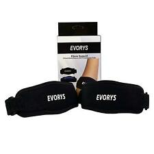 2 x EVORYS Elbow Braces Support with Compression Pads Adult Black Arthritis NEW