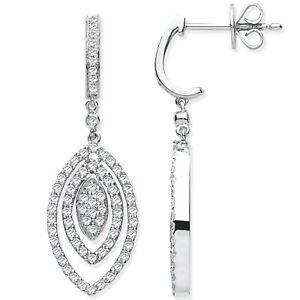 White Gold 1.00ct Diamond Drop Earrings Christmas Gift , Bridal