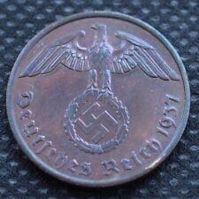 WW2 2 REICHSPFENNIG A 1937 COIN WW2 THIRD REICH GERMANY HITLER ERA  /49