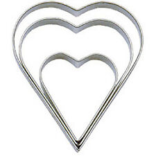 Tala 10a09518 Plain Heart Cutters Stainless Steel Set of 3