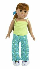 """Doll Clothes 18"""" Pajamas Pants Polka Dot Top Lime Slippers Bunny Fits AG Dolls"""