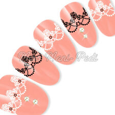 Nail Art Water Decals Transfers Sticker Black & White Rose Lace Garter Y193A