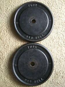 Vintage 25 lb York Barbell Cast Iron Weight Plates 2 Standard Barbells RARE