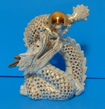 CHINESE GILDED DRAGON - WHITE PORCELAIN - GOLD BALL & HORNS - GOLD PATERN