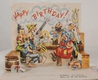 Vintage Birthday Greeting Card Pop Up Hillbilly 1951 jds