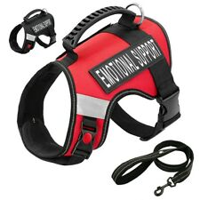 Reflective EMOTIONAL SUPPORT Dog Harness Leash Set Miliary Training Working Vest