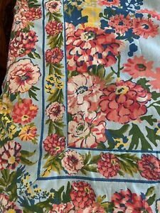April Cornell Tablecloth Blue Background Multi Color Floral Rectangle