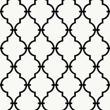 Black Trellis / Lattice on Sure Strip White Wallpaper YS9100