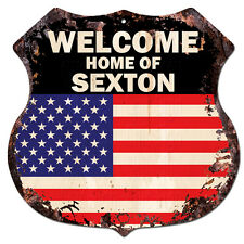 BPWU-0747 WELCOME HOME OF SEXTON Family Name Shield Chic Sign Home Decor