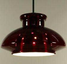 Doria Hänge Lampe Rubinrot Glas Pendel Leuchte Innenreflektor Vintage 60er 70er