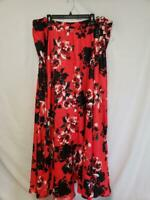 City Studio Womens Skirt Red Floral Size 22W