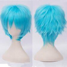 Unisex Short Anime Cosplay Full Wig Straight up Halloween Party Dress Light Blue
