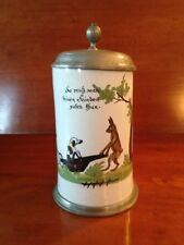18th Century German Faience Ceramic Beer Stein Pewter Lid and Dog, Cart, Hare