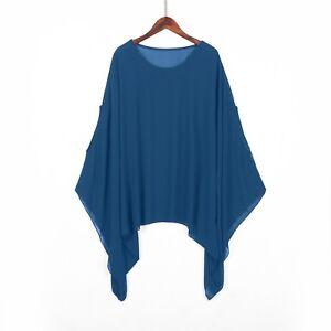 Women Chiffon Tunic Top Batwing Loose Plain Blouse Kaftan Poncho Shirts Cover Up