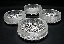 4 x IITTALA FINLAND ULTIMA THULE GLASS BOWLS TAPIO WIRKKALA SCANDINAVIAN DESIGN