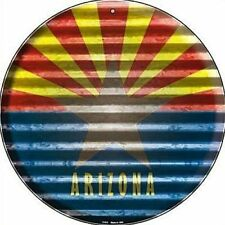"AZ Arizona State Flag 12"" Round Metal Sign US Patriotic Decor Corrugated Look"