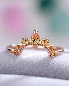 0.50 Ct Pear & Round Cut Citrine U Shaped Curved Wedding Band 14k Rose Gold Over
