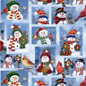 Christmas Xmas Snowman Selfie Christmas Birds Patchwork Sewing Quilting Fabric