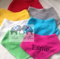 Personalised Embroidered baby Bandana Bib- Any name date gift birthday christmas