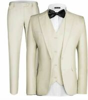 MAGE MALE Men's 3 Pieces Suit Elegant Solid One, Picture Color, Size Small V0r9