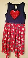 Girls Dress Red White Blue Hearts Silver Red Sequin Heart Back 2 School 10-12