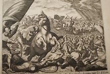 GRAVURE SUR CUIVRE SOLEIL ARRETEE JOSUE-BIBLE 1670 LEMAISTRE DE SACY  (B58)