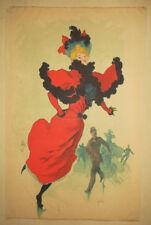"""CHERET Jules AFFICHE """"PATINAGE AU PALAIS DES GLACES"""" LITHOGRAPHIE 1894 POSTER"""