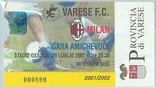 68513 - BIGLIETTO PARTITA CALCIO  Scudetto 2001-2002 :  Varese / Milan