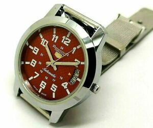 seiko 5 automatic men's steel 6309 red dial vintage japan watch run order