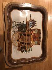 Vintage 1958 Metal COCA COLA COKE Bottles Wicker Picnic Basket Cart Fruit Tray