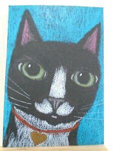 Cats Ollietuxedo Original ACEO Tuxedo Cat with Gold Heart Tag CAT ATC