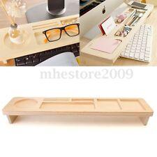Wood Desk Computer Keyboard Shelf Storage Rack Organizer Office Phone Cup Holder