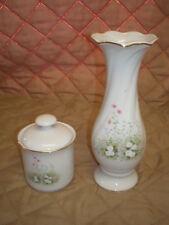 Euc-White Porcelain Rosebud Vase & Candle Vanity Set with Floral Patterns
