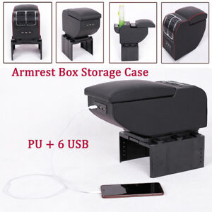 Car Pickup 6 USB Rechargeable Charger Central Container Armrest Box Storage Case