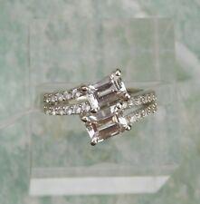 Goshenite & Zircon RING (size 7) Platinum/Silver TGW 2.35 cts